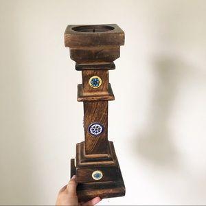 Vintage Wooden Pillar Candle Holder Ceramic Tile